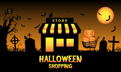 Halloween store shop in a graveyard