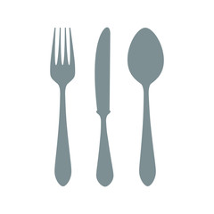 Icon vector illustrations of fork, knife and spoon isolated on white background. Vector illustration