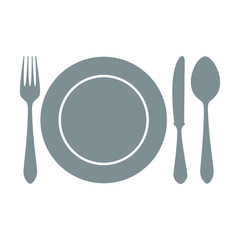 Plate icon. Plate with spoon, knife and fork Vector isolated on white background. Flat vector illustration in grey.
