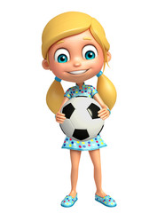 kid girl with Football