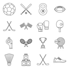 Sport equipment icons set in outline style. Sport elements elements set collection vector illustration