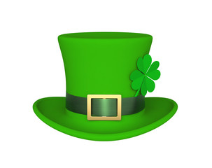 Lucky green hat with clover for Saint Patrick's Day, isolated on