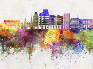 Fresno skyline in watercolor background