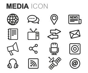 Vector black line media icons set