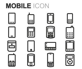 Vector black line mobile icons set