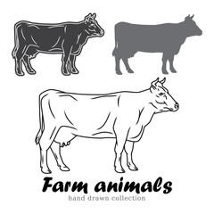 Hand drawn cow milk silhouette. Farm animals vector illustration