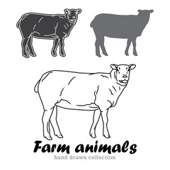 Hand drawn lamb silhouette. Farm animals vector illustration.