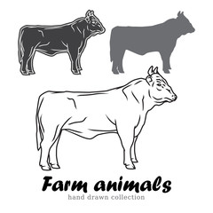 Hand drawn bull silhouette. Farm animals vector illustration.