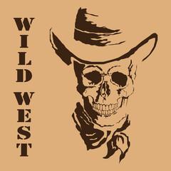 Vector skull. Wild West.