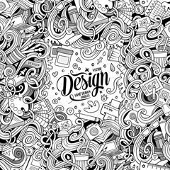 Cartoon cute doodles design frame