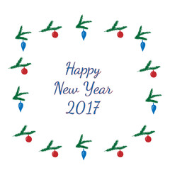 Winter greeting card with Happy new year 2017 text