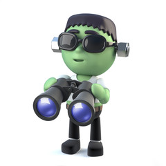3d Child frankenstein monster with binoculars