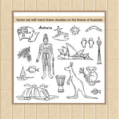 Vector set with hand drawn isolated doodles on the theme of Australia