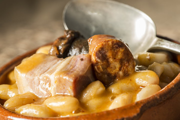 Asturian bean stew with sausage, blood sausage and bacon
