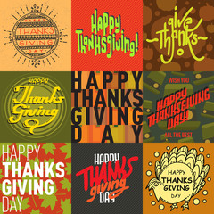 Vector collection thanksgiving card.
