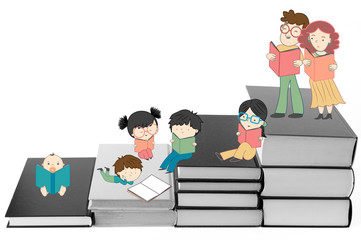 Boys and girls reading on stairs of books for children education and young culture growth illustration