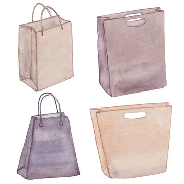 Bags isolated. Shopping bags. Colorful accessories. Various female handbags. Paper bag collection. Eco bags. Package. Watercolor set.