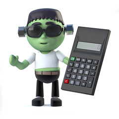 3d Cute frankenstein monster does the math on a calculator