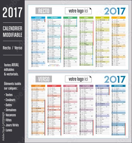 Calendrier 2017 modifiable (éléments isolés sur calques, textes en ...