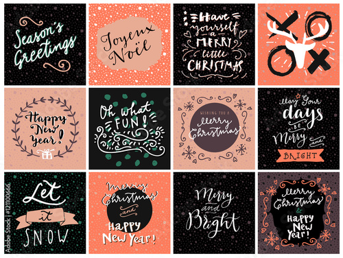Set Of Hipster Hand Drawn Merry Christmas And Happy New Year