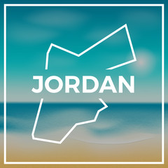 Jordan map rough outline against the backdrop of beach and tropical sea with bright sun.