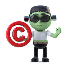 3d Child frankenstein monster has copyright control symbol