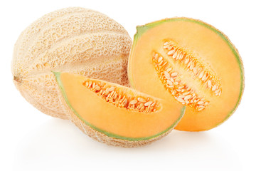 Cantaloupe melons group isolated on white, clipping path
