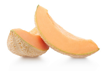 Cantaloupe melon slices isolated on white, clipping path