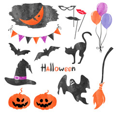 Watercolor Halloween icons set. Vector holiday party collection of elements for design.
