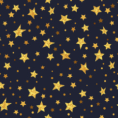 Golden glittering stars seamless pattern. Vector sparkling night background.