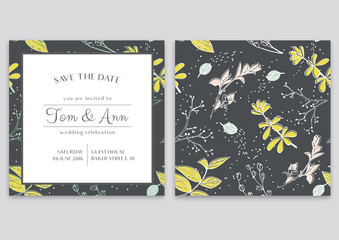 Vector template of wedding invitation card with herbs. Save the date. Botanical style. Green and yellow spring colors.
