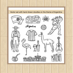 Vector set with hand drawn isolated doodles on the theme of Argentina