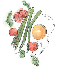 Watercolor asparagus with eggs illustration