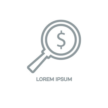 Line style logotype template with a magnifying glass and a dollar sign. Isolated on background and easy to use. Clean and minimalistic symbol. Economic concept.