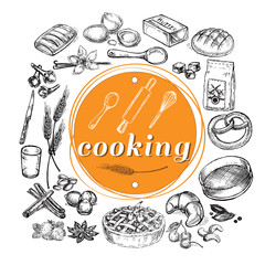 hand drawn sketch illustration cooking