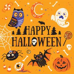 Happy Halloween card. Vector illustration.