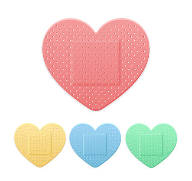 Aid Band Plaster Strip Medical Patch Heart Color Set. Vector