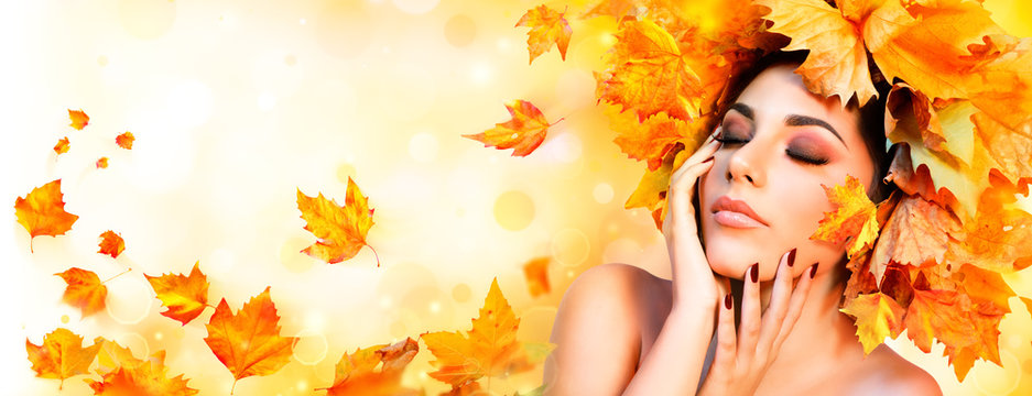 Fall Girl - Beauty Model Woman With Orange Autumn Leaves Hairstyle