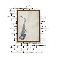musical background frame on a brick wall sax