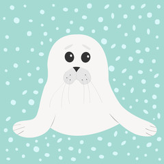 White seal pup baby harp. Cute cartoon character. Blue winter background with snow. Flat design