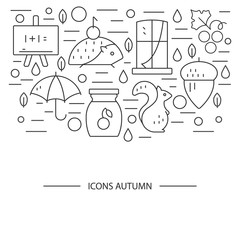 Autumn symbols in circle. Pumpkin, hedgehog, owl, jam  in a linear style. Great graphic for nnouncement, advertisement, flyer or banner.