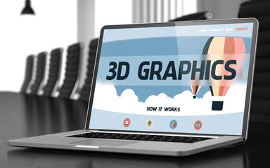 3D Graphics - on Laptop Screen. Closeup. 3D.
