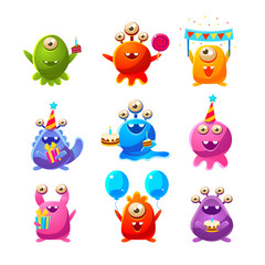 Door stickers Monster Toy Aliens With Birthday Party Objects