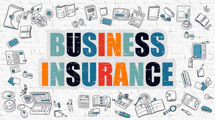 Business Insurance Concept. Multicolor on White Brickwall.