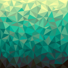Green geometrical background. Abstract futuristic triangular pattern. Kaleidoscope wallpaper. Graphic art.