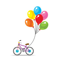 Vector of bicycle with heart shape balloon