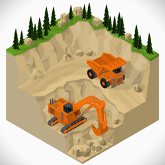 Vector isometric illustration of a mining quarry, heavy-duty truck and a mining excavator. Equipment for high-mining industry.