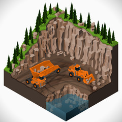 Vector isometric illustration of a mining quarry, heavy-duty dumper and a articulated backhoe excavator. Equipment for high-mining industry.