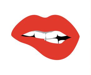 Red lips opened. Sexy and glossy female lips. Fashionable makeup and white teeth. Biting lips.