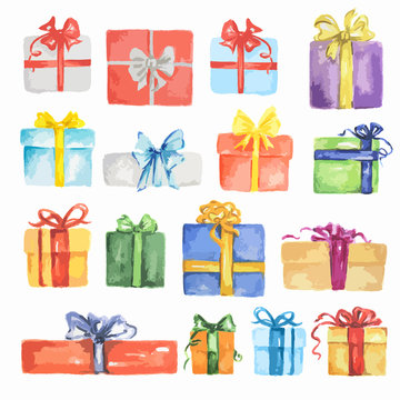Watercolor presents set. Colorful boxes with bows and ribbons for holidays as Christmas, New Year and Birthday.